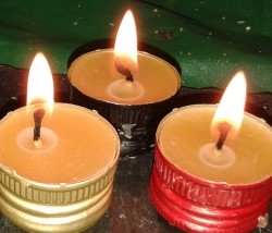 Tealight Candles in Bottle Tops