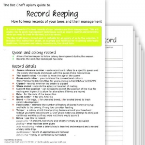 5 x Apiary Record Cards with Instructions